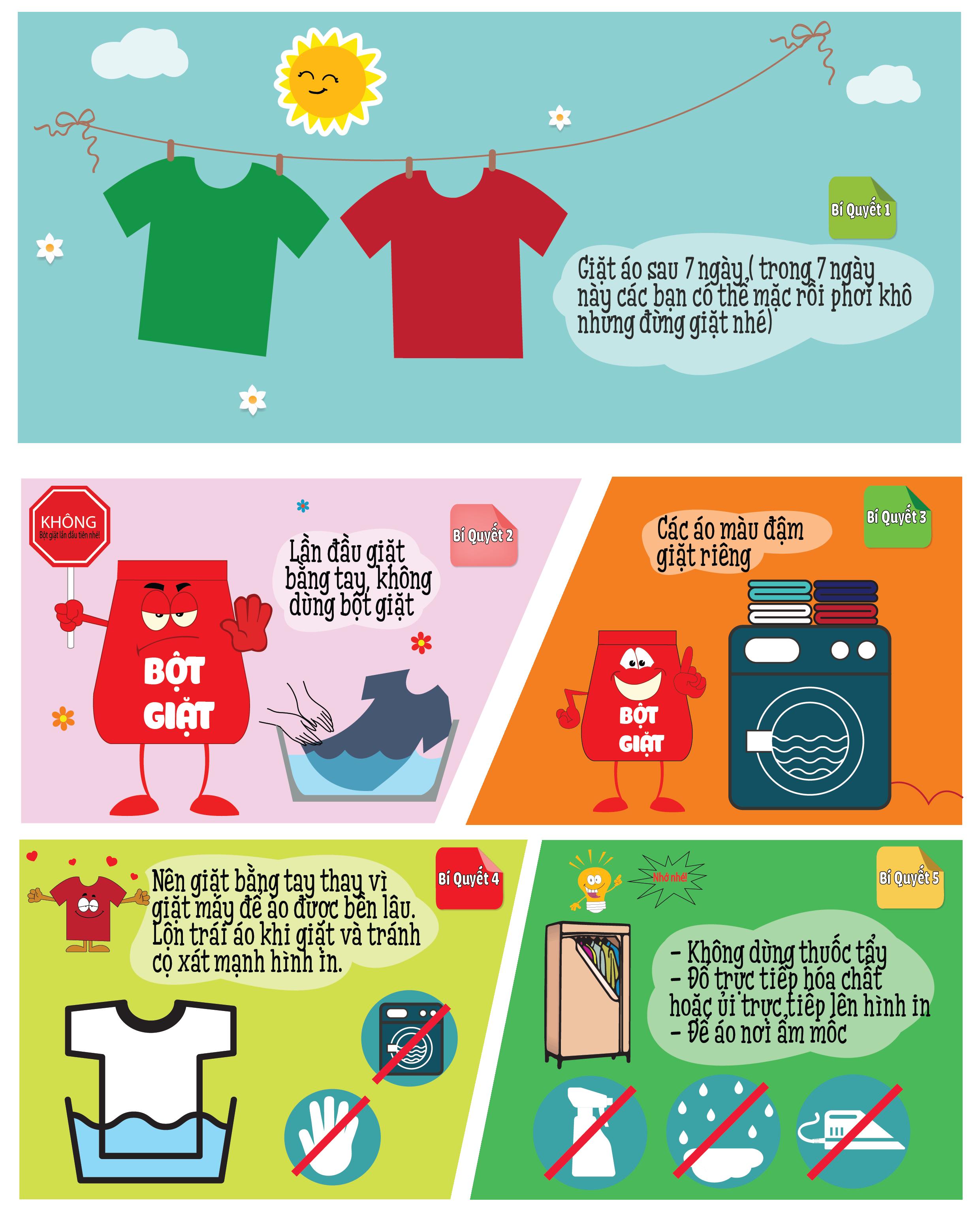 Cách bảo quản áo phông in hình đúng chuẩn